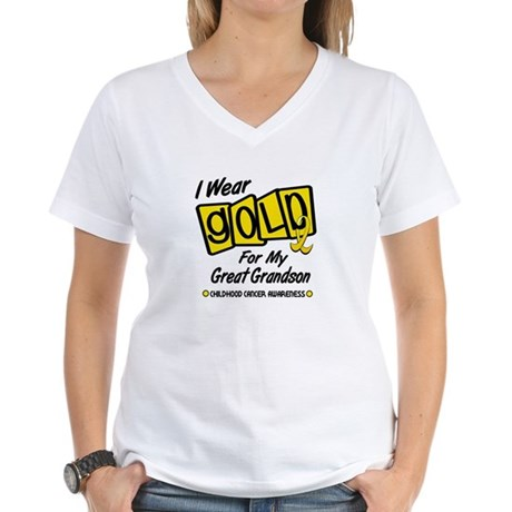 I Wear Gold For My Great Grandson 8 Women's V-Neck