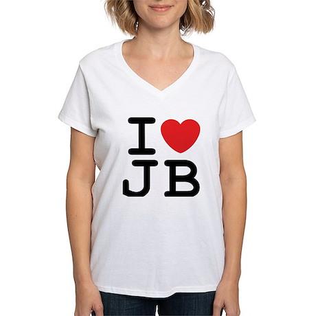 I Heart JB (A) Women's V-Neck T-Shirt
