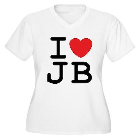 I Heart JB (A) Women's Plus Size V-Neck T-Shirt