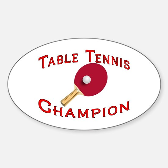 Table Tennis Champion Oval Decal