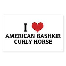 I Love American Bashkir Curly Sticker (Rectangular