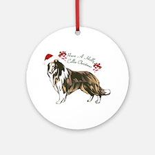 Collie Santa Ornament (Round)