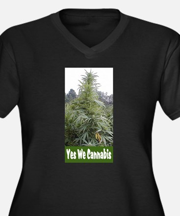 Yes We Cannabis Women's Plus Size V-Neck Dark T-Sh