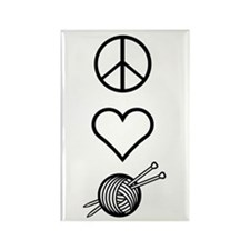 Peace Love Knit Rectangle Magnet