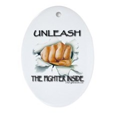 Unleash The Fighter Inside Oval Ornament