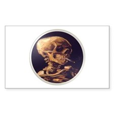 Skull with Cigarette Rectangle Decal