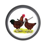 Red Broiler Chickens 2 Wall Clock