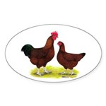 Red Broiler Chickens 2 Oval Sticker (10 pk)