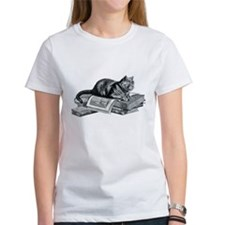 Cat with Books Tee