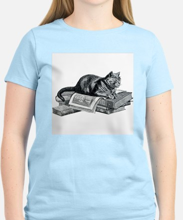 Cat with Books T-Shirt
