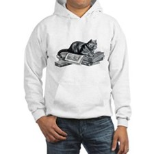 Cat with Books Hoodie