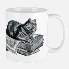 Cat with Books Mug