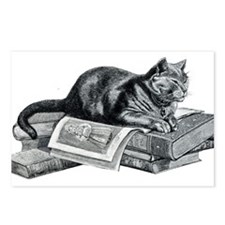 Cat with Books Postcards (Package of 8)