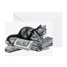 Cat with Books Greeting Cards (Pk of 20)