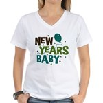 New Years Baby Women's V-Neck T-Shirt