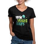 New Years Baby Women's V-Neck Dark T-Shirt