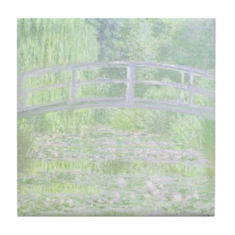 MONET Water Lily Pond Green Tile Coaster