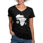 Africa Is A Continent Women's V-Neck Dark T-Shirt