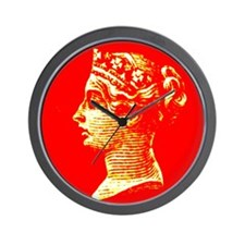 Red and gold QV portrait Wall Clock