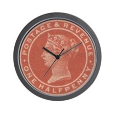 GB QV 1/2d vermilion Wall Clock