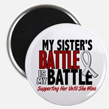 """My Battle Too 1 PEARL WHITE (Sister) 2.25"""" Magnet"""