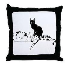 Three Cats Throw Pillow
