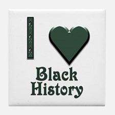 I Love Black History Tile Coaster