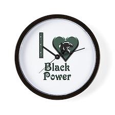 I Love Black Power Wall Clock