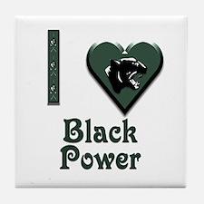 I Love Black Power Tile Coaster