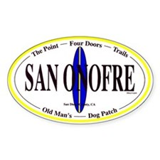 San Onofre Surf Spots Oval Decal