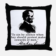 Lincoln to Sin by Silence Throw Pillow