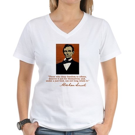Abe Lincoln FREEDOM Quote Women's V-Neck T-Shirt