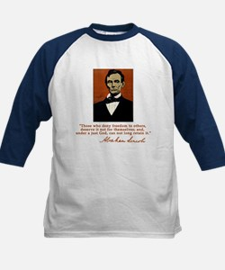 Abe Lincoln FREEDOM Quote Kids Baseball Jersey