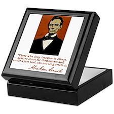Abe Lincoln FREEDOM Quote Keepsake Box