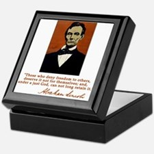 Abe Lincoln FREEDOM Quote Keepsake Box