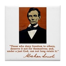 Abe Lincoln FREEDOM Quote Tile Coaster
