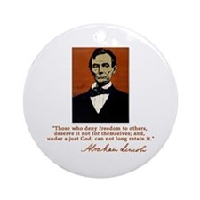 Abe Lincoln FREEDOM Quote Ornament (Round)