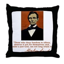 Abe Lincoln FREEDOM Quote Throw Pillow