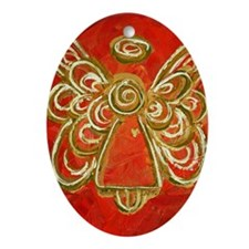 Red Angel Oval Ornament