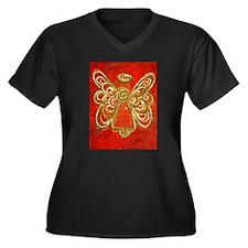 Red Angel Women's Plus Size V-Neck Dark T-Shirt