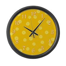Retro Citrus Pattern Large Wall Clock