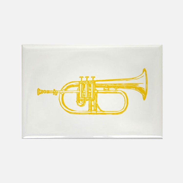 "Woodcut ""Brass"" Trumpet Rectangle Magnet (10 pack)"