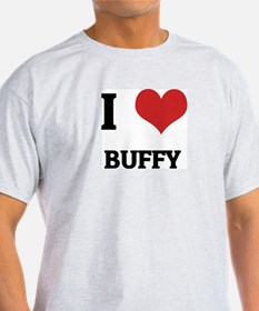 I Love Buffy Ash Grey T-Shirt