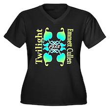 EMMETT CULLEN Women's Plus Size V-Neck Dark T-Shir