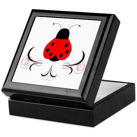 Cute Artsy Ladybug Keepsake Box