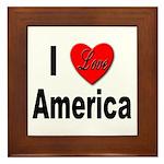 I Love America Framed Tile