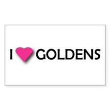 I LUV GOLDENS Rectangle Decal