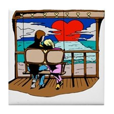 sunsetting valentine Tile Coaster