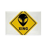 Yellow Alien Crossing Sign Rectangle Magnet