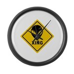 Yellow Alien Crossing Sign Large Wall Clock